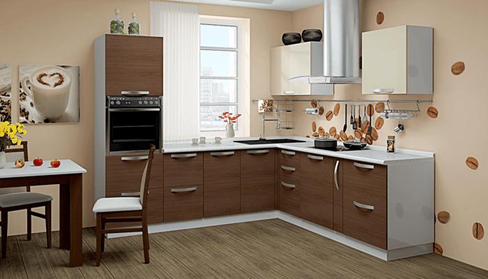 Кухня коричнево-белая интерьер