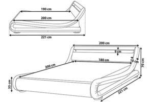 Кровать подсветка размеры