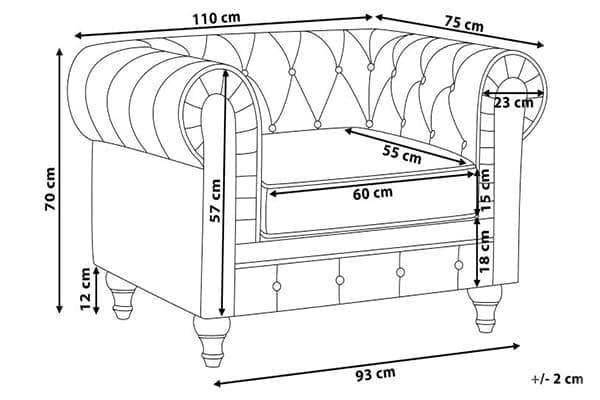Размеры кресла Честер