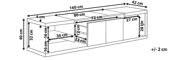 Размер тумбы Fulerton