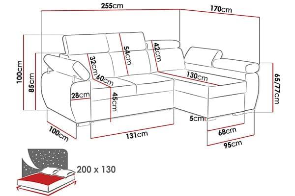 Размер дивана Giza