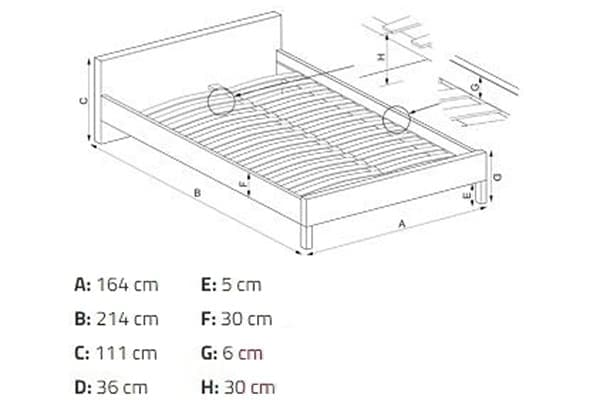 Размеры кровати Grace