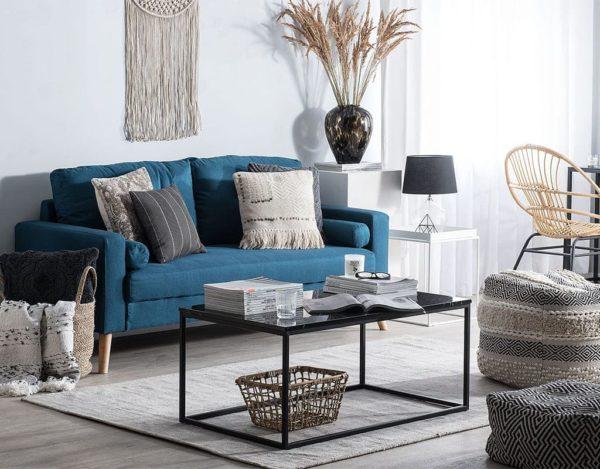 Темно-синий диван интерьер