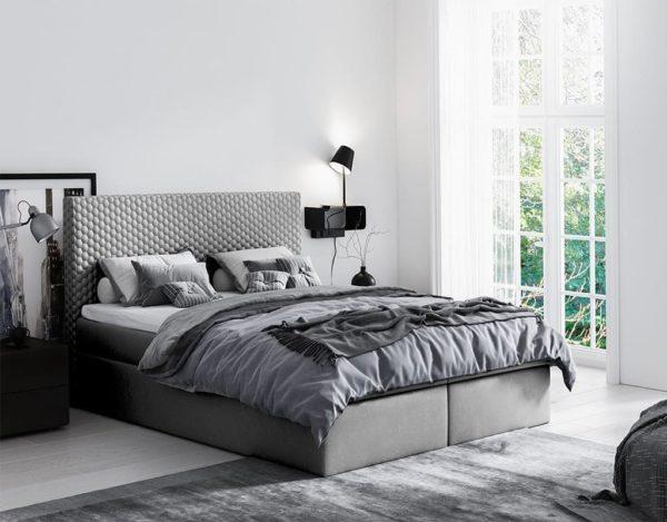 Серая кровать Malva