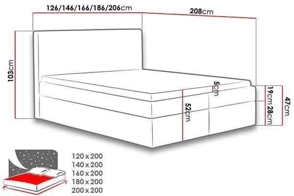 Размеры кровати Malva