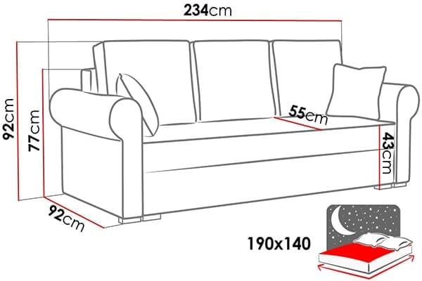 Размеры дивана Masuria
