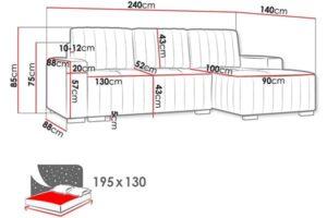 Размеры дивана Pulah