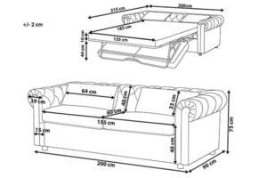 Размеры дивана Chesterfild