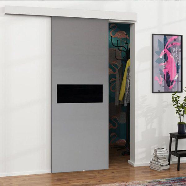 Серая раздвижная дверь
