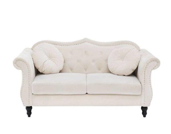 Белый велюровый диван