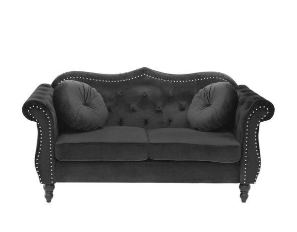Черный диван бархатный