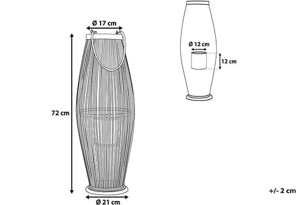 Размеры фонаря Tahiti