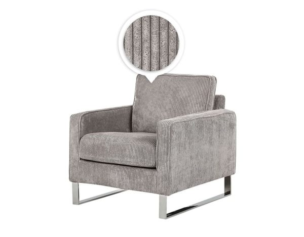 Серое кресло вельвет