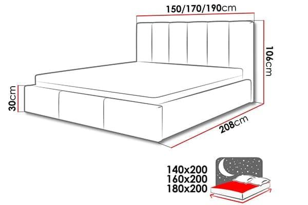 Размеры кровати Werbena